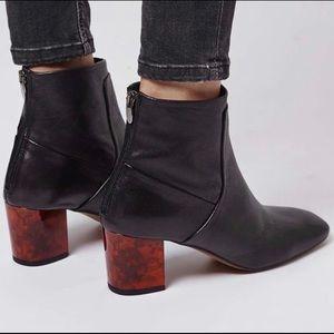 Topshop Tortoise Heel Black Leather Ankle Booties